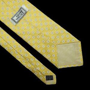 Gianni Versace Classic Silk Neck Tie Square Striped  Design Gold White