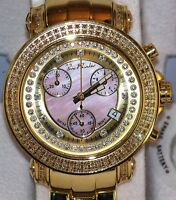 New womens joe rodeo Rio pink dial gold tone JRO15 1.25ct.apx.real diamond watch