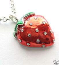 RED HOT JUICY STRAWBERRY CRYSTAL NECKLACE PENDANT
