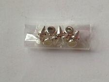 10 ciondoli borchie argento in plastica con foro bigiotteria