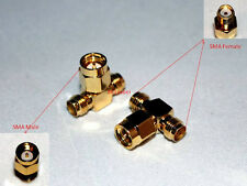SMA Male to two SMA Female triple T in series RF adapter connector 3 way USA