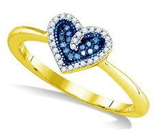 Blue Diamond Ring 10K Yellow Gold Blue & White Diamond Heart Cluster Ring .10ct