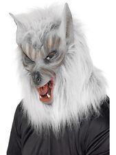New Unisex Silver Wolf Mask & Fur Halloween Horror Movie Theme Fancy Dress Fun