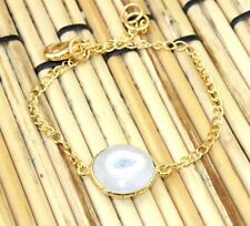 H5553 Sale ! Natural White Solar Quartz Gold Plated Bracelet Mens/Womens Jewelry
