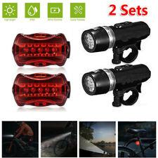 2Set 5 LED Lamp Bike Bicycle Front Head Light Rear Safety Flashlight Waterproof