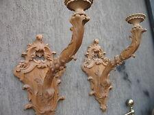 COPPIA APPLIQUES -TORCIERE - BRACCI INTAGLIATI CON BASE A MURO - LEGNO NATURALE