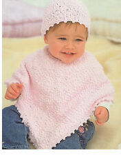 baby / children poncho and hat dk knitting pattern