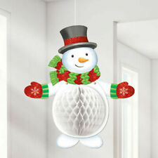 """Christmas Honeycomb 3D Hanging Snowman Winter Holiday Party Decoration 19"""" Tall"""