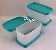 TUPPERWARE FREEZE IT MINI SQUARE ROUND CONTAINERS SET (4) WHITE & AQUA NEW
