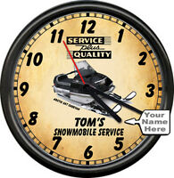 Your Name Snowmobile Sales Service Sports Cheetah Racing Vintage Sign Wall Clock