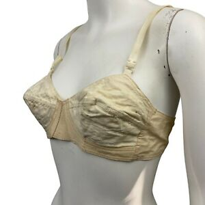 Vintage Creme Cotton Bullet Bra Size 36A with Adjustable Straps / AS IS