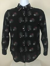 FOXCROFT Womens Shaped FIT Black Red Geometric Top Blouse - Size 6P EUC