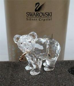 SWAROVSKI CRYSTAL GRIZZLY BEAR CUB CARRYING FISH FIGURINE W/ ORIGINAL BOX & COA