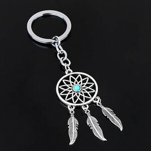 New Silver Keychain Feather Tassels Dream Catcher Keyring Key Chain Ring  Gift