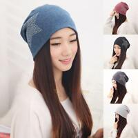 Women Men Star Knit Baggy Beanie Oversize Winter Hat Ski Slouchy Chic Cotton Cap