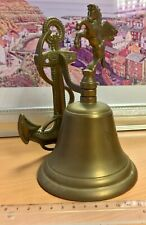Brass Ship's Bell with Horse & Anchor-Shaped Mounting Bracket