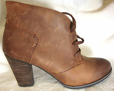 Indigo by Clarks Solid Brown Leather Ankle Lace-Up Boots/Booties/Heels 9 M NEW