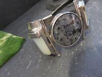 Mächtiger Silber Armreif Blau Schwarz Grau Weiß Massiv Schwer Vintage Retro Edel