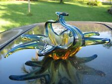 BLUE TIPPED WITH GOLDEN YELLOW MURANO ART GLASS DISH  BASKET WITH GLASS HANDLE