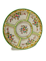 Vintage Japan Porcelain 10'' Floral Divided Relish Dish, Hand Painted Plate/Tray