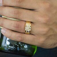 Mens 1/2 Ct D VVS1 14k Diamond Wedding Pinky Band Ring Yellow Gold Finish