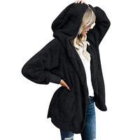 Womens Hooded Fleece Fur Jacket Outwear Winter Warm Fluffy Coat Thicken Sweater