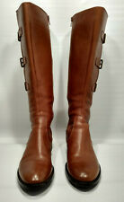Ecco Hobbart Boots Cognac Brown Sz 39 3-Buckle Riding Tall Leather Knee-High
