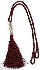 "Fausse Perle Rouge Rideau Drapé Long Tasseled Embrasse Tieback 59CM (23"")"