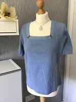 Viyella Size L (Petite) Blue Short Sleeved Top
