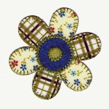 Blume, Patchwork, blau/crème/grün, Applikation, Patch, zum Aufbügeln ca. 6,5 cm