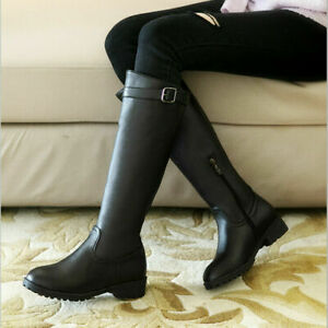 Autumn Ladies Riding Boots Chunky Heels Buckle Strap Knee High Equestrain Shoes