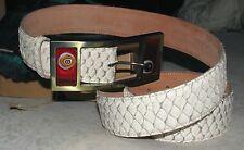 Krene White Tilapia Skin Men's Belt Leather size 42 Italy - NEW