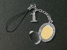Oval Picture Photo Cell Phone Charm Crystal Dangle # 1 Silver Plated Black Strap