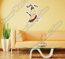 "Safe Sex Adult Armed Condom Funny Wall Sticker Room Interior Decor 20""X25"""