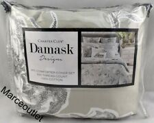 Charter Club Damask Designs Engraved Floral Full / Queen Duvet & Shams Set Gray