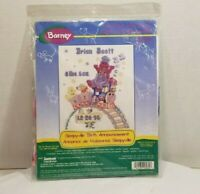 Barney Sleepyville Birth Announcement Sealed Kit Cross Stitch 1997 Janlynn New