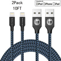2Pack 10Ft Lightning Cable Heavy Duty For iPhone 8 7 6plus Charger Charging Cord