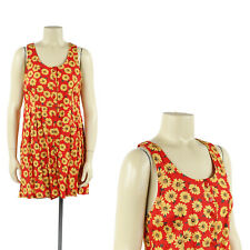 Vintage 90s Red + Yellow Floral Daisy Print Short Racerback Grunge Romper Dress
