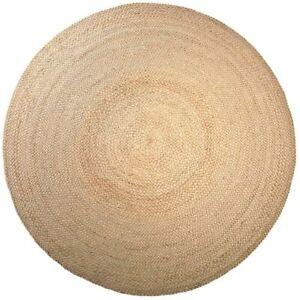 Rug Round Jute Style Natural Reversible 100% Jute Rug Braided Modern Rustic Look