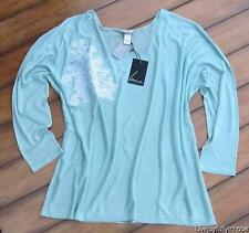 LANE BRYANT ~ NWT Plus 2X ~ Caribbean Blue Crochet Embroidered Pullover Sweater