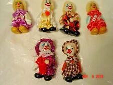 """6 Porcelain Bisque Face, Hands, Feet 4"""" Clown Dolls"""