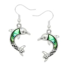 Dolphin Fashionable Earrings - Fish Hook - Abalone Paua Shell