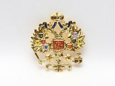 Bright Enamel Russian Imperial Double Headed Eagle Gold Plated Romanov Coat Arms