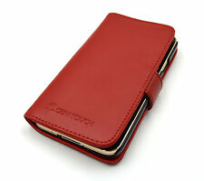Cenitouch Red Premium Genuine Luxury Leather Wallet Case for Samsung Galaxy S5