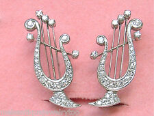 VINTAGE 1ctw DIAMOND PLATINUM GREEK LYRE HARP STUD HUGGIE EARRINGS 1950 RARE