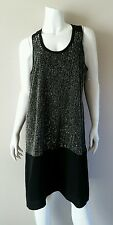 EILEEN FISHER Black Sequined Front Shift Sleeveless Dress - Size S