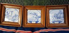 Three antique Dutch Delft Blue White Bible Biblical Religious Tiles Framed