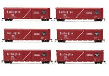 Rivarossi Burlington CB&Q Sliding Door Box Car HO Scale Train Car -Set Of 6 Cars