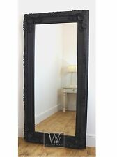 "Chelsea Ornate Carved Louis French Style Floor Mirror Black 72"" x 36"" X Large"