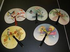 lot of 5 metal handle paper fans flowers, birds